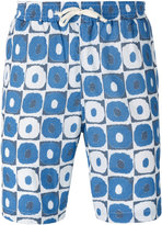 Universal Works geometric print beach shorts