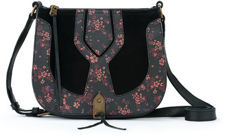 The Sak Women's Handbags Black - Black Floral Playa Saddle Bag