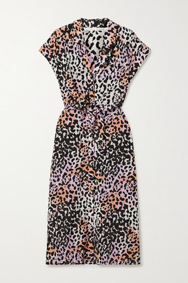 Veronica Beard Amani Tie-front Leopard-print Stretch-silk Shirt Dress - Lilac