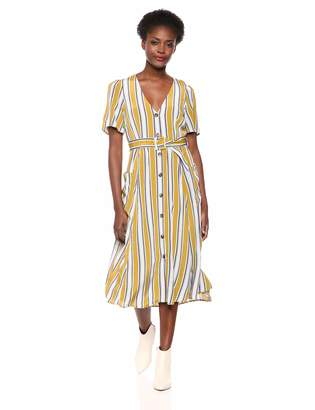 ASTR the Label Women's Scout Short Sleeve Belted Fit & Flare Midi Dress