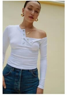Thumbnail for your product : The Line By K The Harley Top In White - XS