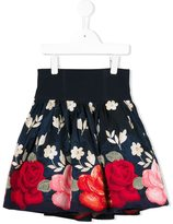 MonnaLisa rose embroidered skirt - kids - Polyester/Acetate - 6 yrs