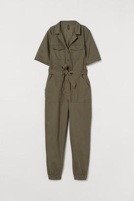 H&M Cotton Twill Jumpsuit - Green