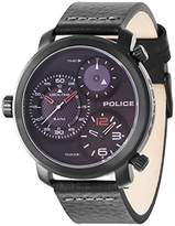 Police Men's Quartz Watch with Black Dial Chronograph Display and Black Leather Strap 14500XSB/02