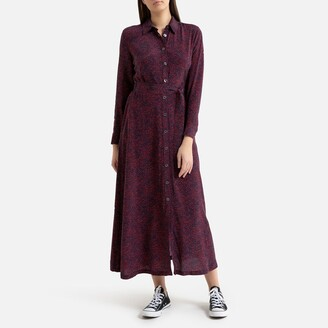 Tommy Hilfiger Printed Buttoned Maxi Dress with Long Sleeves