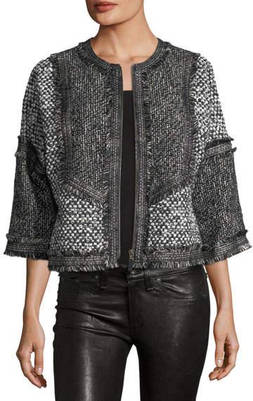 Andrew Gn Cropped Tweed Zip-Front Jacket