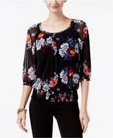 INC International Concepts Petite Floral-Print Peasant Top, Only at Macy's