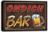 AdvPro Canvas scw3-085868 ONDICH Name Home Bar Pub Beer Mugs Cheers Stretched Canvas Print Sign