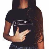 Qiyun Women Short Sleeve T-Shirt Killing It Rock Tops Blouse Size S-XXXL Chemise