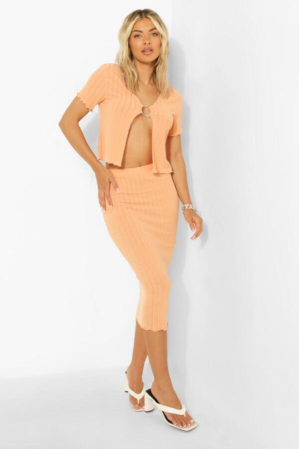 Thumbnail for your product : boohoo O Ring Lettuce Hem Top & Midi Skirt