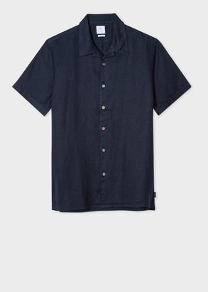 Men's Classic-Fit Navy Short-Sleeve Linen Shirt