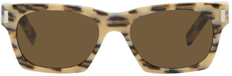 Saint Laurent Off-White and Brown Leopard SL 402 Sunglasses