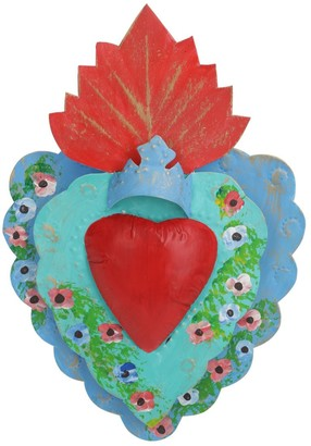 Pink Pampas Double Heart Metal Wall Decor