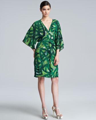 Escada Printed Silk Caftan Dress, Green