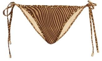 Zimmermann Empire Side-tie Tiger-print Bikini Briefs - Brown Multi