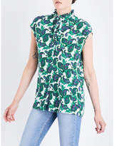 Sandro Ruffled-trim paisley-print silk top