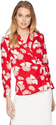 Nine West Women's Printed JKT with WRAP TIE Detail and Cuffed Sleeves