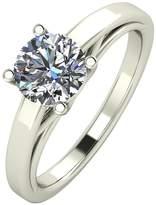 Moissanite Premium Collection 9 Carat White Gold, 1 Carat Round Brilliant Cut Solitaire Ring