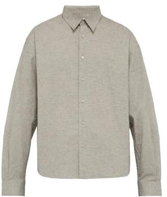 Raey Boxy Melange Cotton Shirt - Mens - Grey