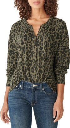 Lucky Brand Print Hacci Henley