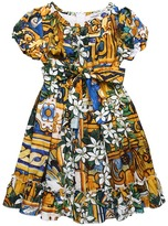 Dolce & Gabbana Printed Voile Cotton Dress (Toddler/Little Kids/Big Kids)