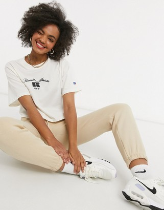 Russell Athletic logo crop t-shirt in cream