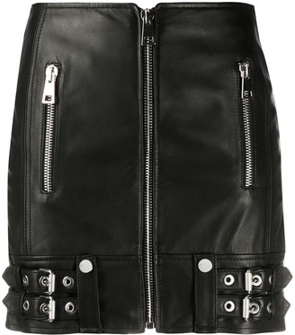 Manokhi Zip Detail Leather Mini Skirt