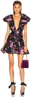 BROGNANO Taffeta Floral Print Mini Dress in Black Floral | FWRD