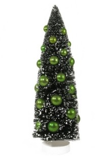 "Northlight 15"" Dark Green Sisal Christmas Tree with Green Ornaments Table Top Decoration"