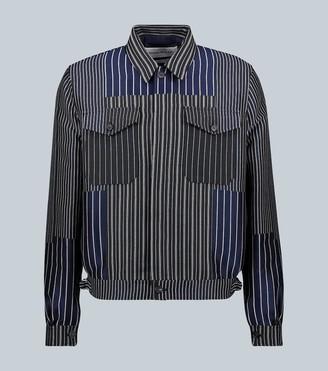 Alexander McQueen Pinstriped patchwork blouson jacket