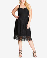 City Chic Trendy Plus Size Eyelash Lace Dress
