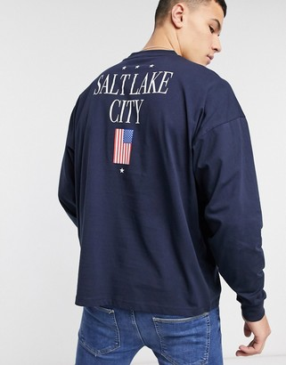 Asos DESIGN oversized long sleeve t-shirt with city and flag print in navy