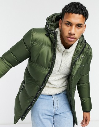 Good For Nothing longline puffer with hood in khaki