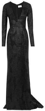 J. Mendel J.mendel Fluted Metallic Fil Coupé Silk-Organza Gown
