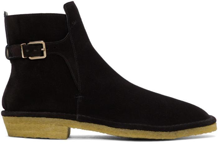 Robert Clergerie Black Suede Buckle Boots