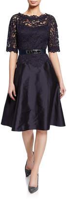 Rickie Freeman For Teri Jon Bateau-Neck Short-Sleeve Gazar A-Line Dress w/ Lace Overlay