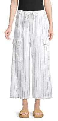 Bailey 44 Striped Linen-Blend Drawstring Pants