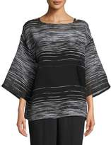 Eileen Fisher Half-Sleeve Illusion Mesh Top, Plus Size