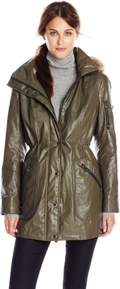 Calvin Klein Women's Waxed Cotton Anorak with Removable Faux Fur Trim
