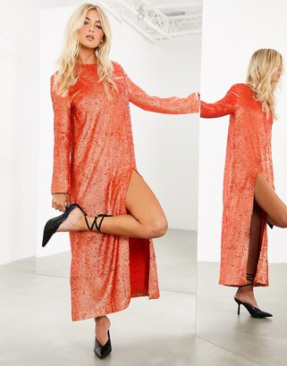 ASOS EDITION sequin maxi dress with split front