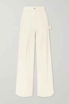 Helmut Lang Pleated Cotton-twill Straight-leg Pants - Ivory