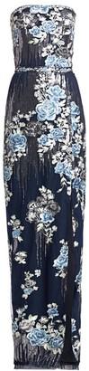 Marchesa Strapless Sequin Floral Gown