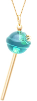 Green Crystal 18K Gold-Plated Silver Lollipop Pendant Necklace by Simone I. Smith