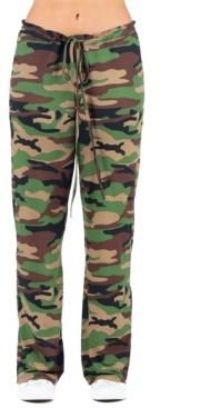 24seven Comfort Apparel Women's Plus Size Camo Print Drawstring Lounge Pants
