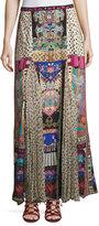 Camilla Silk Maxi Skirt W/ Pleat Inserts, Multi