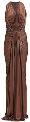 Rick Owens Lilies Metallic Bodycon Draped Gown