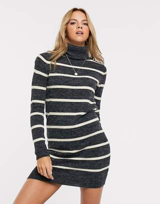 Brave Soul roll neck contrast stripe jumper dress in charcoal-Grey