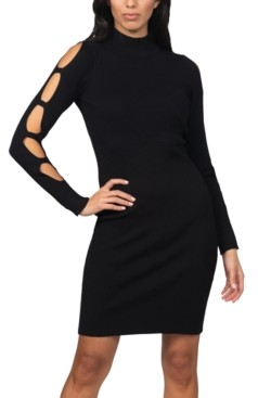 Bebe Juniors' Caged-Sleeve Ribbed Sweater Dress