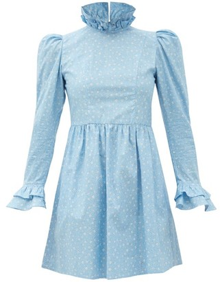 Batsheva High-neck Floral-print Cotton Mini Dress - Blue
