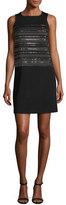 St. John Sequined Milano Knit Shift Dress, Black